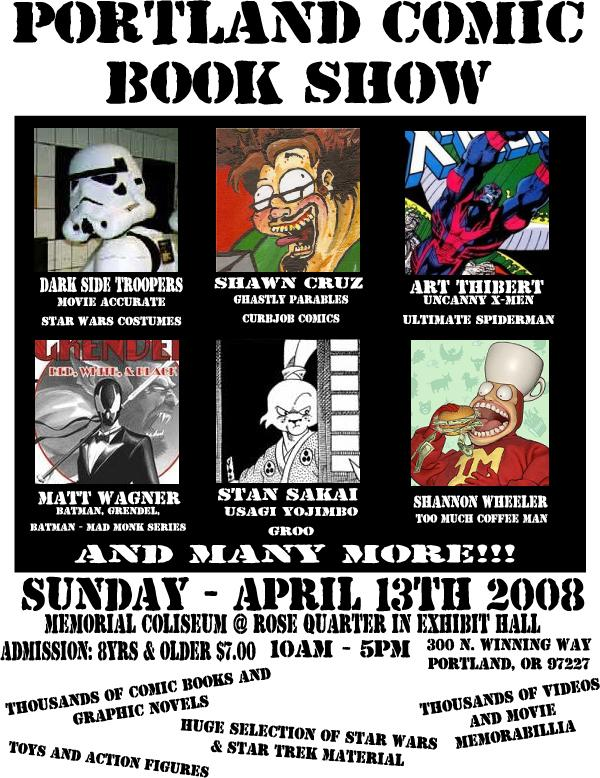 PORTLAND COMIC BOOK SHOW!  April 2008 in Fliers! by