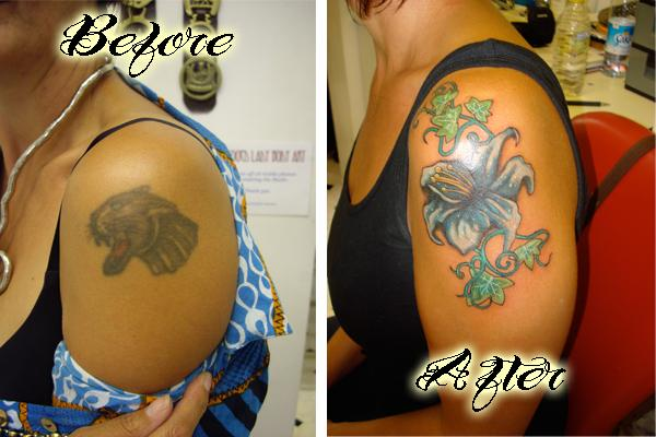 cover up tattoo Before and After in My Photos by Tricky Tattoo
