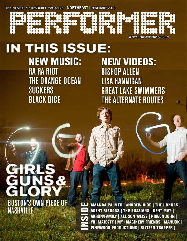 Girls Guns & Glory on the cover of the Northeast Performer - Feb. 2009 in GGG band pics by