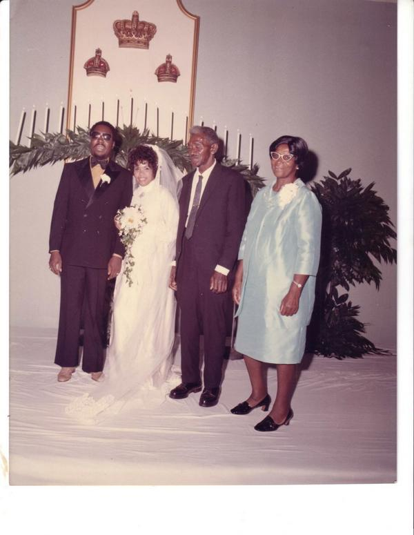 wedding day 1970: Clarence Carter, Candi, Candi's stepdad and Candi's mom - Rosie.... in Candi with the Stars by